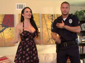 Alektra fucked so much cocks that she hardly remembered how many. How she called police officer in order to get access  to his huge dick.