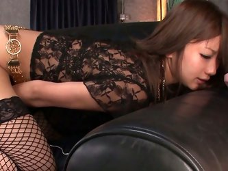 Seductive Jap porn actress Aika is wearing sexy lingerie set and fishnet stockings. She exposes her pussy in closeup shot. She pleases her coochie wit