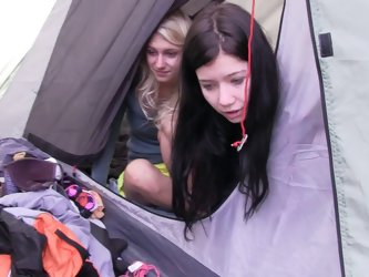 Four girls have a lesbian orgy while in a tent camping