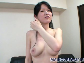 Leather couch and busty Asian babe what you need for getting satisfaction. This babe isn't geisha at all cause she's a real whore, who rubs