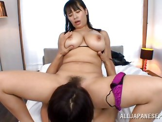 She's busty and knows how to please a man! Hana likes to sit on top regardless if she rub cock with her delicious breasts or with her pussy. Look