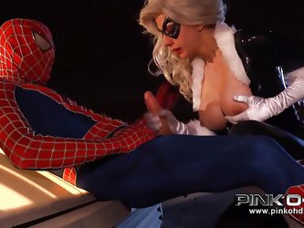 This dirty slut Black Cat got caught by Spider-man, while she was stealing some jewels. He agrees to let her go, if she fucks him and sucks him. She f