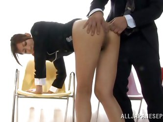 Because she's a long legs beauty with a tight sexy ass this Asian bitch is attracting men and asks for it! She stays there bent over and obedient
