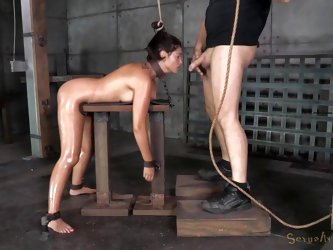 Down in the basement you'll find Ava, a naked bitch who has been tied up and used to offer sexual favors to her merciless guardian. Click to see