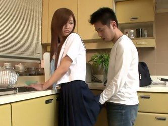 He lifts her shirt skirt up and eats raw egg from her pussy. It looks disgusting. Watch weird food-fetish sex video produced by Japan HDV porn site.