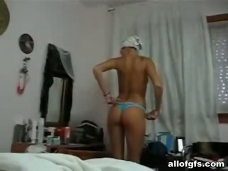 Voracious blondie gets horny in the shower. Slim appetizing girlie with smooth ass wanna ride a dick for reaching orgasm before falling asleep. Have a