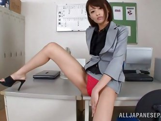She's a beautiful Nippon babe and wants to play. All that hard work at the office stressed her out and what better way to relax, then a good puss