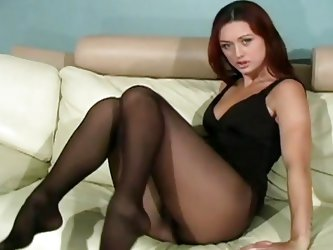 This sexy slut wants to see, how you can masturbate. She is looking so elegant in her black dress and soft nylons. She opens her legs and shows off he