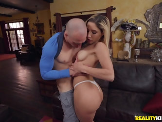 Perfect blonde tries a restless dick in her tiny cunt