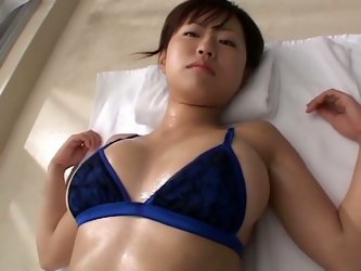 All this buxom pale Japanese chick needs is erotic massage. While her tits, belly and ass are rubbed kinky nympho moans of delight. All Gravure horn-m
