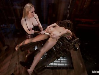 Blonde milf Aiden doesn't tolerates sluts that do not obey so this one that has been tied on that special device is about to learn something abou