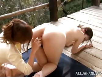 Ryu gets fingered by her girlfriend Erika Kitagawa on the deck of their home. She gets her hairy pussy fingered and then has all her clothes ripped of