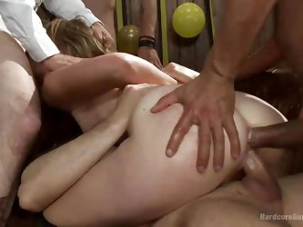 Are you ready for an amazing rough sex session? The blonde milf in the video has to deal with five big cocks and she successfully succeeds to please t