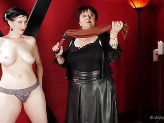 This mean mistress is going to show you the basics of sensual flogging by giving a demonstration. Watch as she uses the whip on her slave. First her t