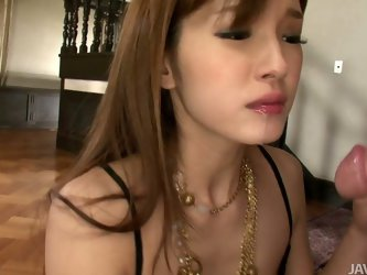 Captivating Japanese hottie in bodystocking knows how to appreciate a good, hard cock. She takes every inch of her lover's cock in her lustful mo