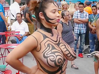 Big tits girl public body painting