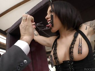 These nasty girls have to do exactly as Rocco says, because he is the master. One of the beautiful ladies is tied up, with her nipples and tongue clam