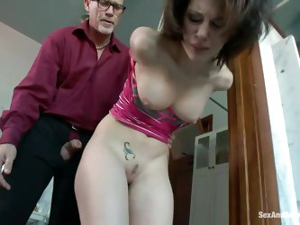 We had enough with this slut. Who the fuck she thinks she is disobeying her man? Well, let's see how cocky she is with her hands tied and her ass