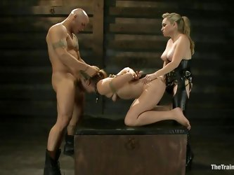 Chastity Lynn is a submissive girl eager to fulfill her dark sexual desires. Aiden Starr and her friend Derrick Pierce are there to give her what she