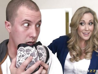 Brandi Love was out getting groceries, but when she comes home she sees that her perverted stepson has been rummaging through her drawers and sniffing