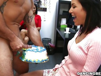 It's a very special day today! This brunette celebrates her birthday and no birthday is complete without a cake! She loves cock but she enjoys co