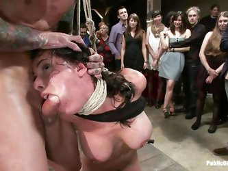 Barry uses his big muscles to dominate this smoking hot brunette milf with big boobs, long dark hair and sexy mouth. She is tied hard and fucked in th