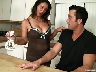 If you are fond of hot seductive moms, add Persia to the crazy milfs collection! The brunette lady is so kind to the shy guest and wanna warm up the a