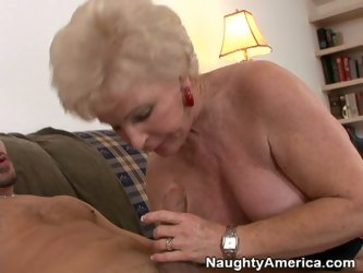Fatty old milf rides a dick like pro. She seizes her curly grey hair getting excited. Lying on her body side this slutty old dame gets ready to a toug