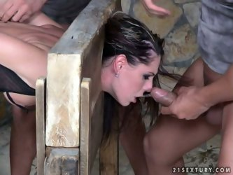 You'd better join the execution. Black head is too sexy and horny that her twat needs a tough drilling right away. Impressive chick is fixed in t