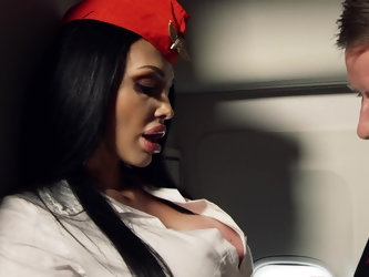 Stewardess with big boobs seduces pilot who fucks and facializes her in backroom. At the same time, chesty blonde Nicolette Shea is fucked in cabin by