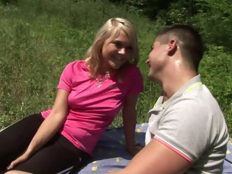 Appreciative teen with natural tits riding massive dick hardcore in the forest