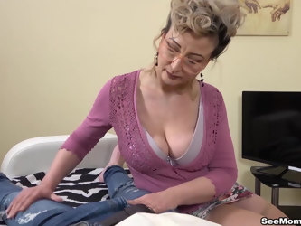 Euro Stepmom Showcases Her Son's Big Dick by Sucking Him Off