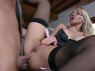 Mature fucks with younger step son and loves his jizz on her tits