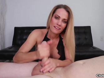 Allura Skye craves to suck his dick but only gives him a handjob