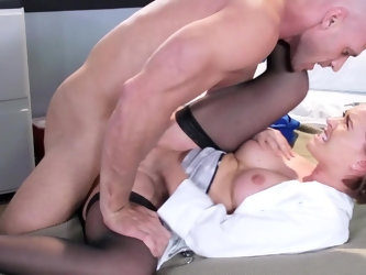 Johnny Sins is a total hunk and he wants to bang his co-worker Krissy Lynn. She's also eager for it, hottie blows his thick schlong and gets ramm