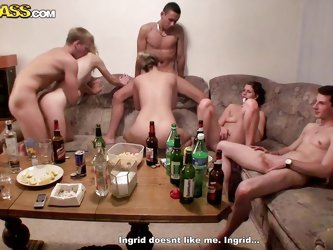 Damn that couch is crowded and there's a lot going on it. The boys and the naughty chicks seem to have a college fuck party and the table is full