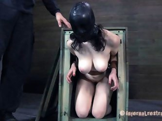 Freshly out of the box the milky white brunette with big soft boobs receives a rough mouth fucking from her executor. After warming her up with his di