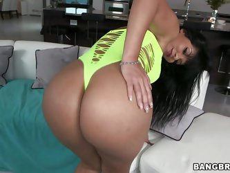Hot latina bitch Rose shows off her big sweet booty to the camera. She touches her ass and jiggles it because she is a horny bitch and craves for hard