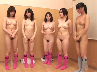 Japanese female soccer team does warm up exercises naked
