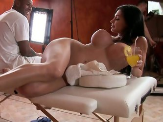 Legendary Aletta Ocean is getting ready for another hot scene with two guys. She finally gets naked and reaches for lubricant to oil her pussy and ass