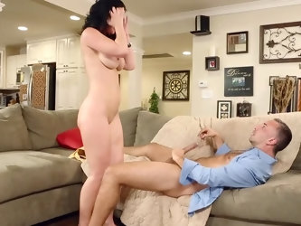 Black-haired MILF catches husband cheating on her and invents plan of revenge that includes sex with her co-worker. She gives him sloppy blowjob and i