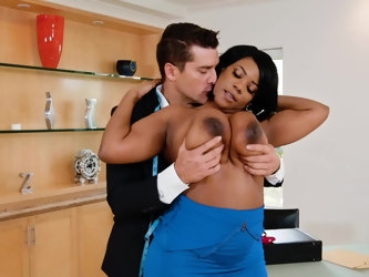 Dominique Marley is a thick ebony chick with a lust for white cock and she gets laid so good in her interracial video. The guy's dick gets deep i