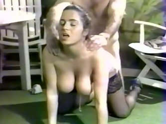 Two sex insane retro babes give eager blowjob to one well endowed dude. They polish his meaty cock sitting next to him.