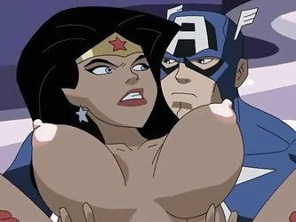 Captain America has found his way through a wormhole into the DC universe and he encounters Amazon goddess Wonder Woman. They fight first but then get