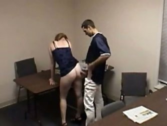 Thirsting brutal man trailed his sandy haired bitchy chick in the office and locked the door to doggy fuck her hard. They had no idea that kinky boss