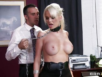 Watch this hot blonde making her boss really horny and starts sucking those big tits of her.  Look at her collar, at her sexy hard tits, her hot body