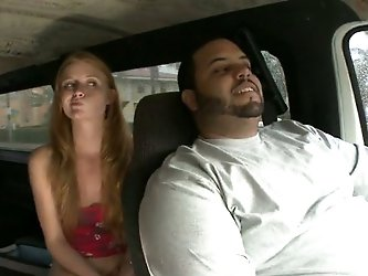 She got naughty when she saw camera in his hands. Sexy blondie flashed her shaved pussy and sucked his dick in the van!