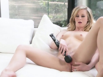 Black, big-headed vibrator is the perfect companion for lonely chick