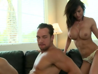 Libidinous MILF demonstrates male porn model how he must have sex with such a hot counterpart actress so it's not a complicated thing for brunett