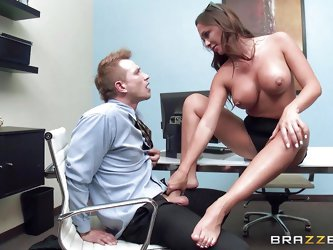Have you ever had lusty fantasies involving your hot coworker? Destiny is a sexy milf with big lovely tits. Click to see the horny guy sucking those n